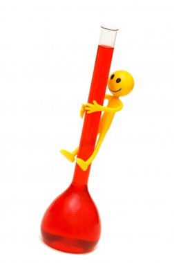 Smilies climbing red tube isolated
