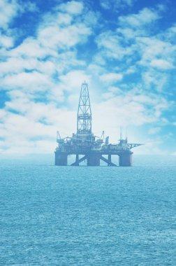 Offshore oil rig in the Caspian Sea