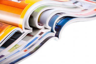 Pile of colour illustrated magazines on white background. Isolated. stock vector