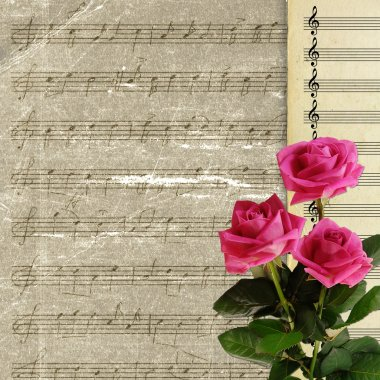 Musical background with rose bouquet
