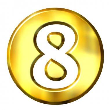 3D Golden Framed Number 8