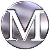 Fotografia 3D argento lettera m