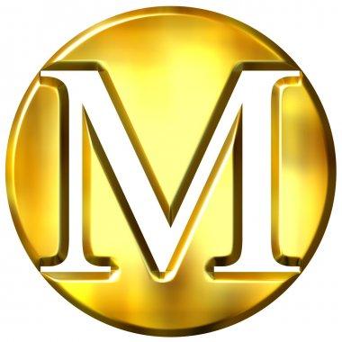 3D Golden Letter M