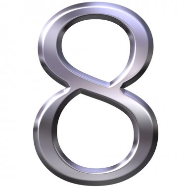 3D Silver Number 8