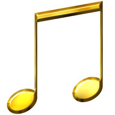 3D Golden Eighth Notes