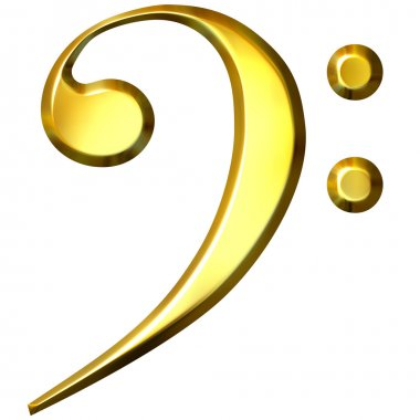3D Golden Bass Clef