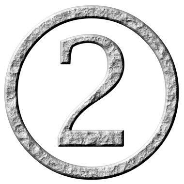 3D Stone Framed Number 2