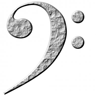 3D Stone Bass Clef