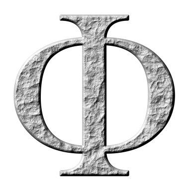 3D Stone Greek Letter Phi