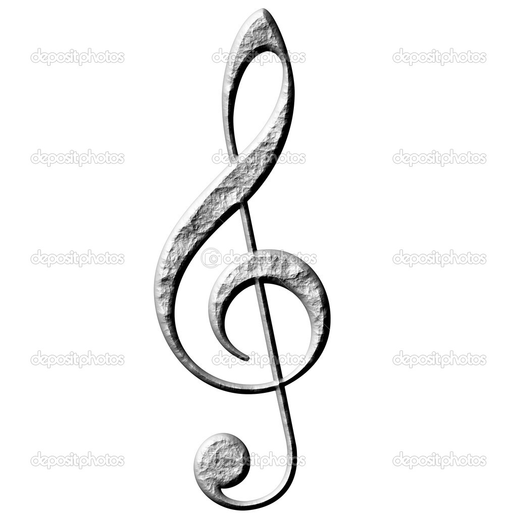 3d stone treble clef isolated in white photo by georgios