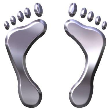 3D Silver Foot Prints