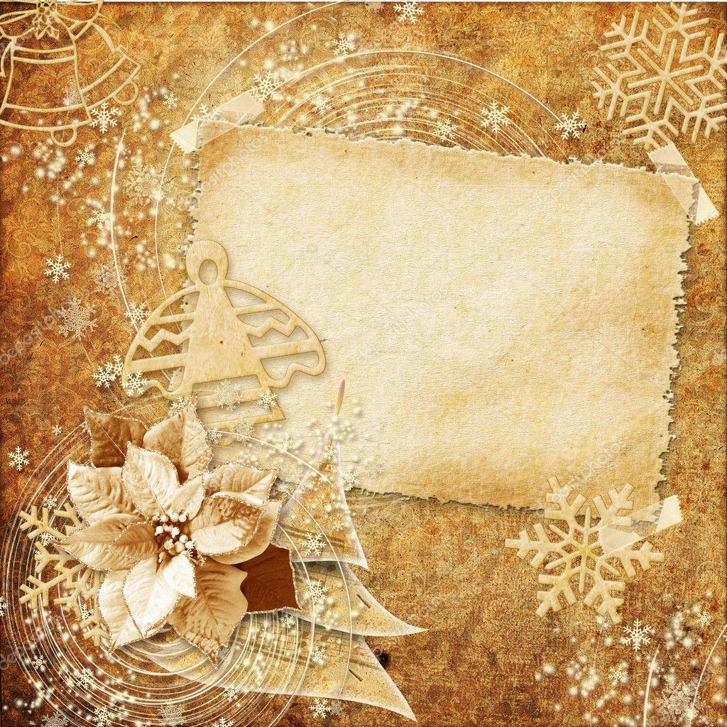 Винтажная новогодняя открытка в фотошопе