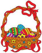 Velikonoční košík s malovanými vejci