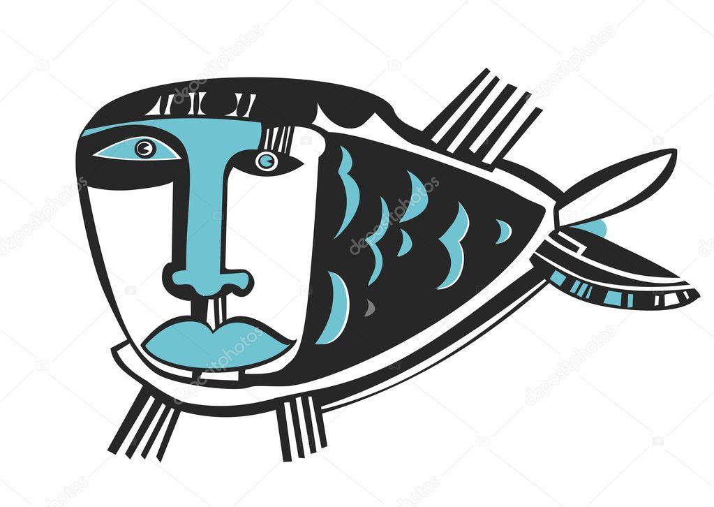 Sad blue fish