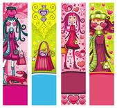 Valentýna módní bannery