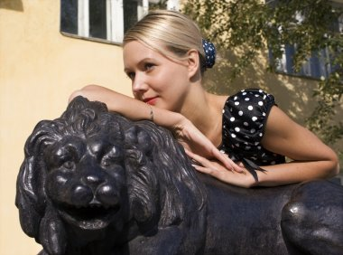 Girl and lion
