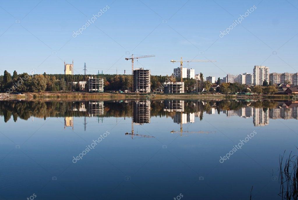 Mirrored city skyline