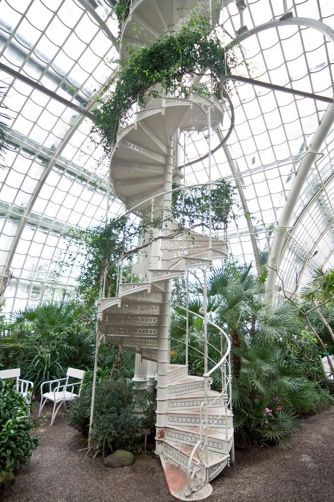 Spiral staircase in arboretum