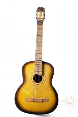 Acoustic guitar with broken string