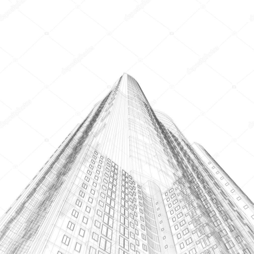 Architecture blueprint stock photo 1xpert 1217410 architecture blueprint of construction skyscraper on white background photo by 1xpert malvernweather Gallery