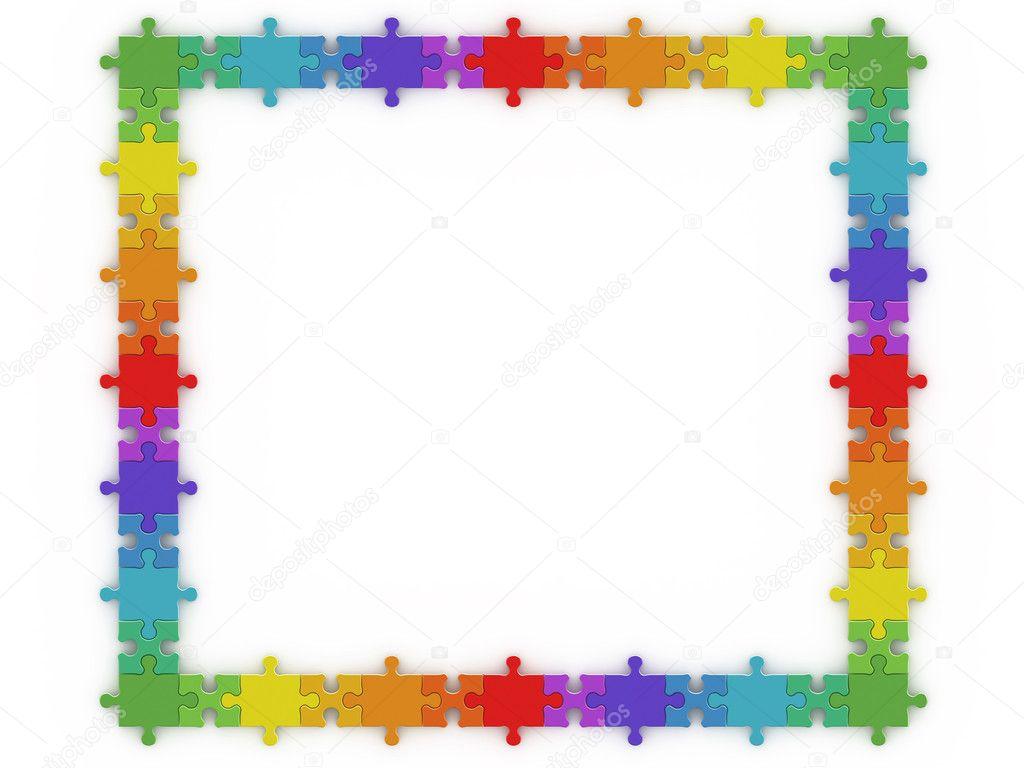Regenbogen-Puzzle-Rahmen — Stockfoto © 1xpert #2119366