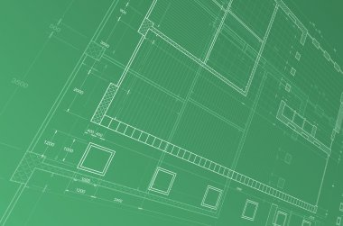 Blueprint. My personal architectural project. Concept in green colors stock vector