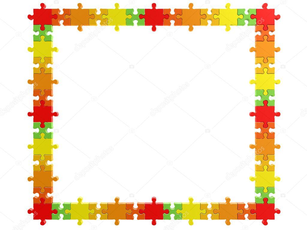 3d Regenbogen-Puzzle-Rahmen — Stockfoto © 1xpert #2431413