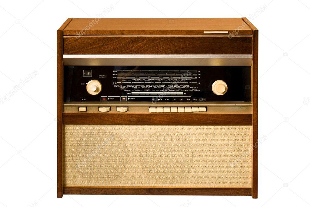 Retro stile: old antique radio over white