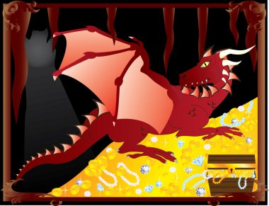 Red dragon in cave guarding treasures