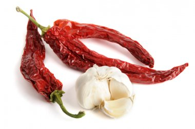 Dried red hot chili pepper with garlic isolated on white stock vector