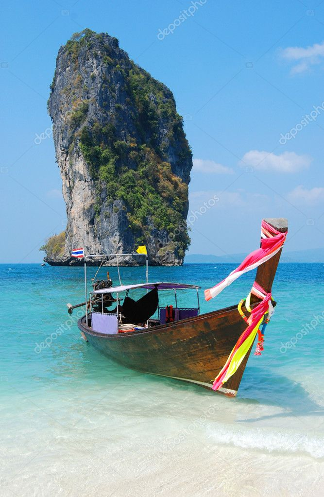 Thailand island with boat