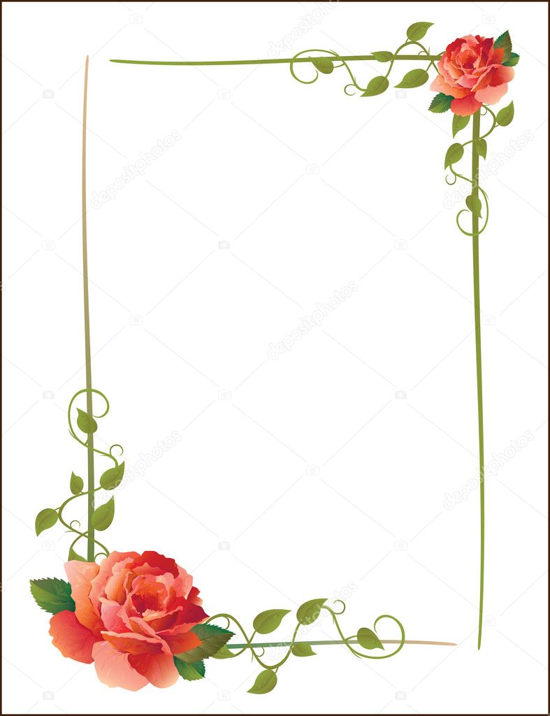 Vintage frame with roses — Stock Vector © sannare #1466045