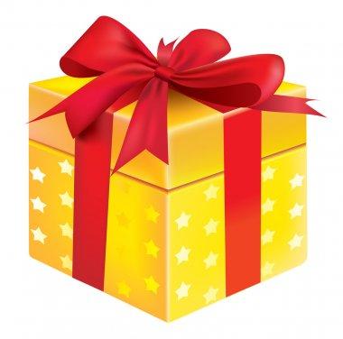 Vector gift box yellow color clip art vector