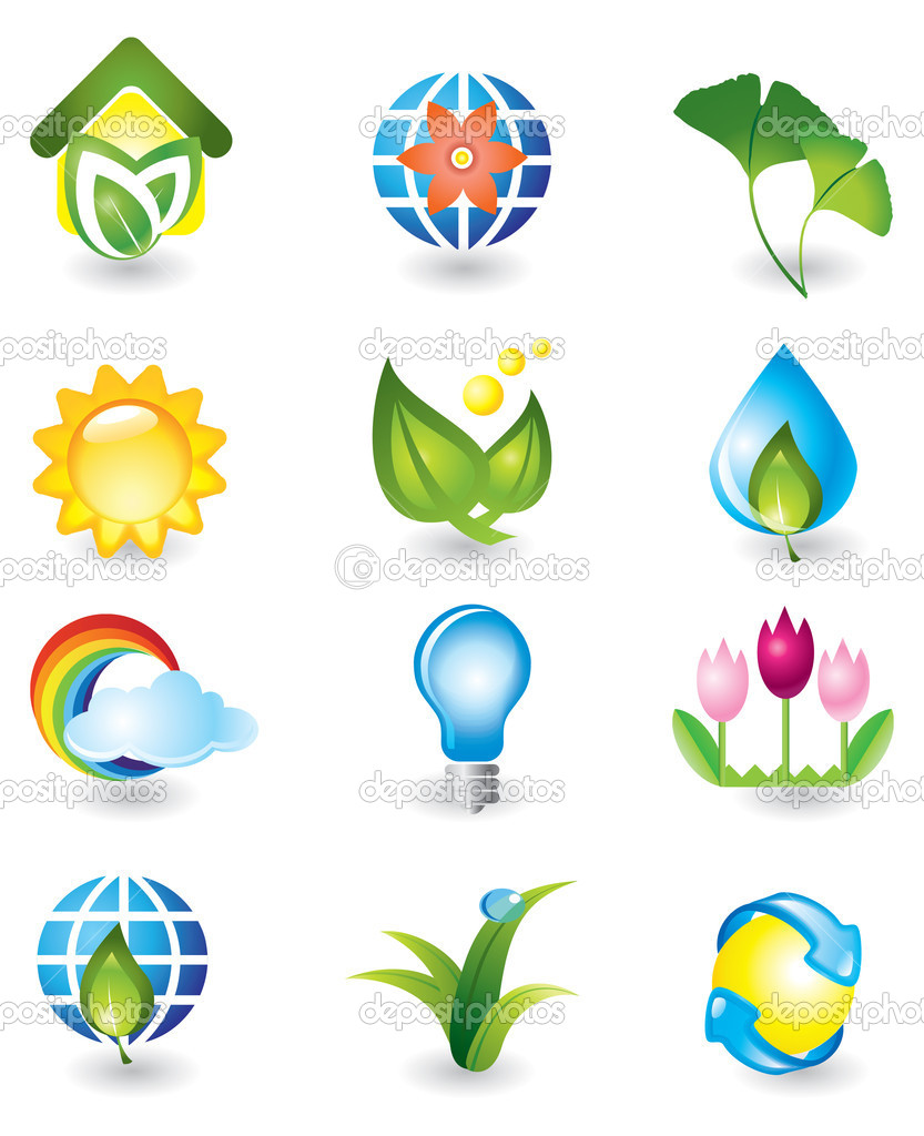 Set of nature design elements