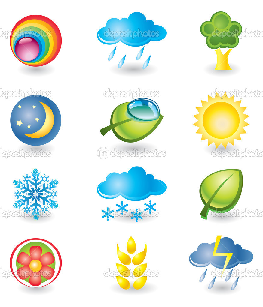 Set of icons. Nature and weather