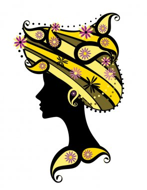 Silhouette of woman with flowers