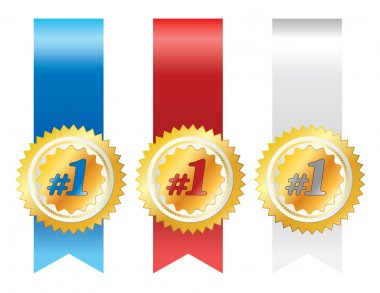Gold awards with ribbons