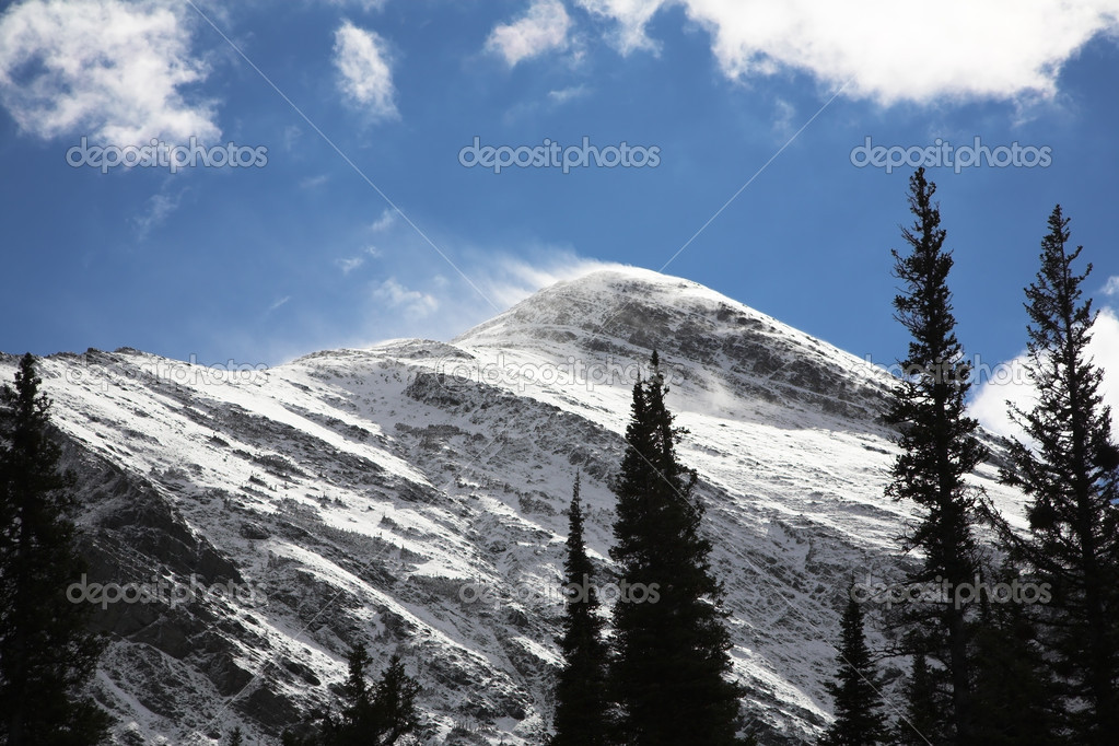 Strong wind in snow mountains