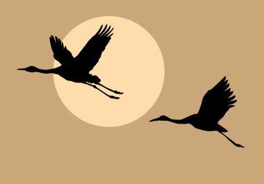 """Картина, постер, плакат, фотообои """"силуэты летающих журавлей """", артикул 1257218"""