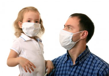 Dad with daughter in non-permanent medical masks. stock vector
