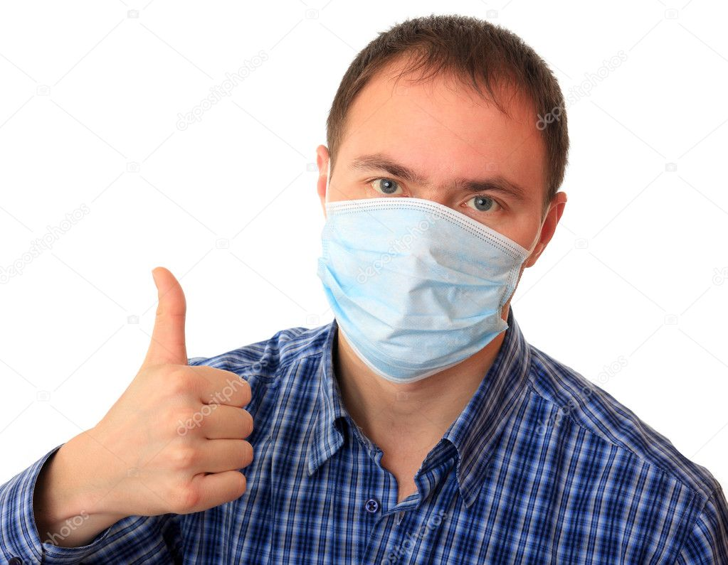 Man is in medical mask.