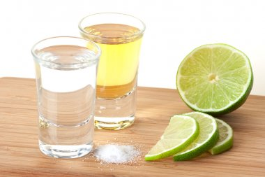 Blanc and Gold Tequila with lime and sal