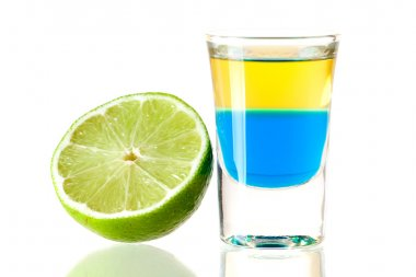 Shot cocktail collection: Blue Tequila alcohol cocktail isolated on white background. Ingredients: 1 oz Blue Curacao, 1 oz Gold Tequila stock vector
