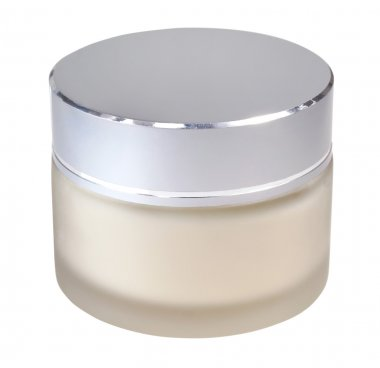 Jar of cosmetic cream on white backgroun