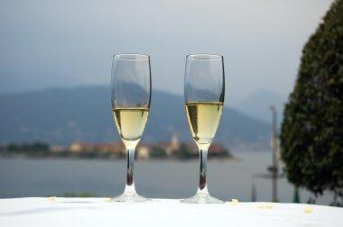Romantic dinner on the lake shore