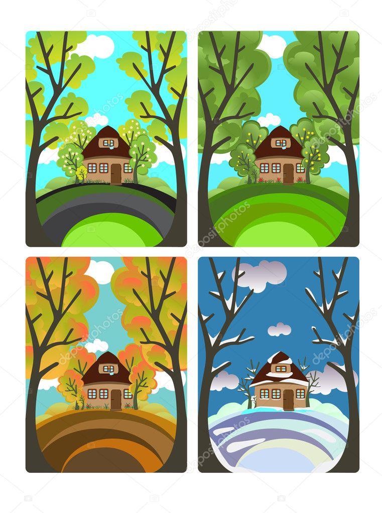 4 Seasons — Stock Vector