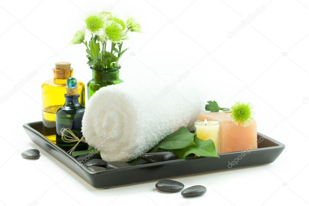 relaxation spa set on a tray stock photo klenova 1703200. Black Bedroom Furniture Sets. Home Design Ideas