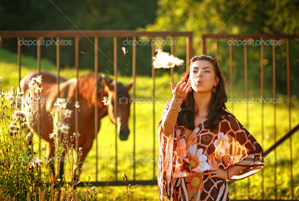 Modern rural girl. Country lifestyle.