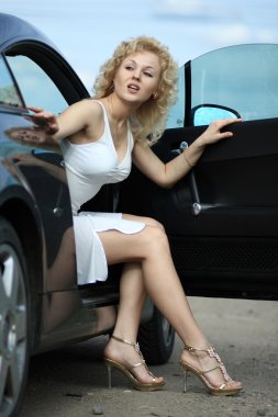Beautiful pin-up styled girl near car