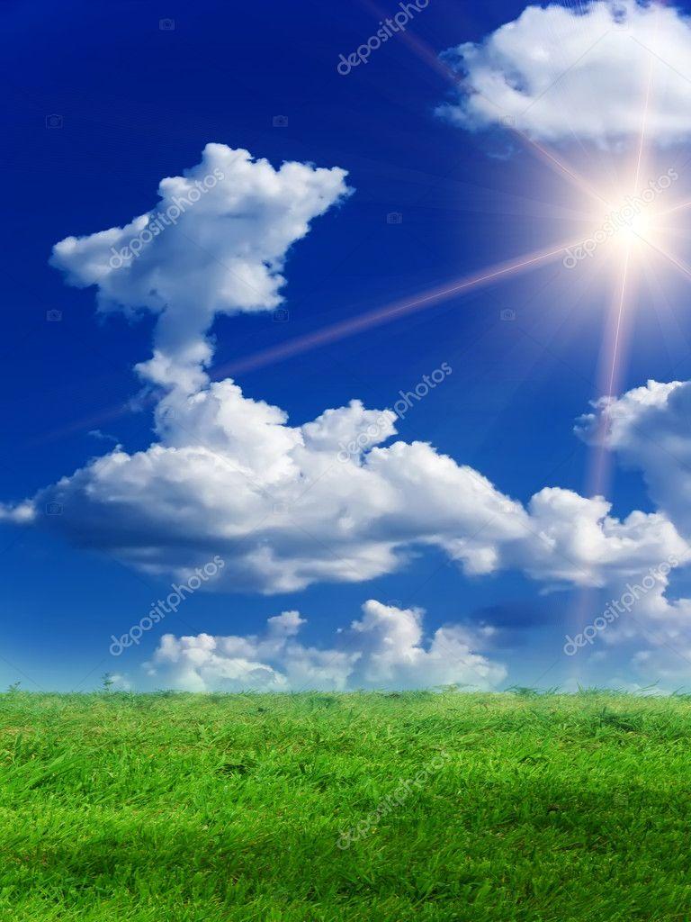 Sun sky clouds landscape